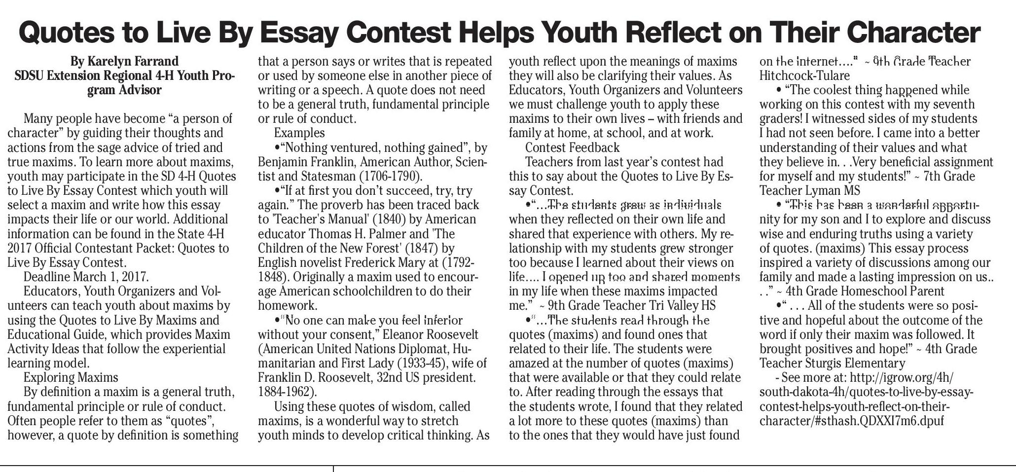 essay contests 7th graders 7th grade cesar chavez academy : leslie lerma 7th grade the entry period has ended for the 2017 poster & essay contest for more information on this contest.